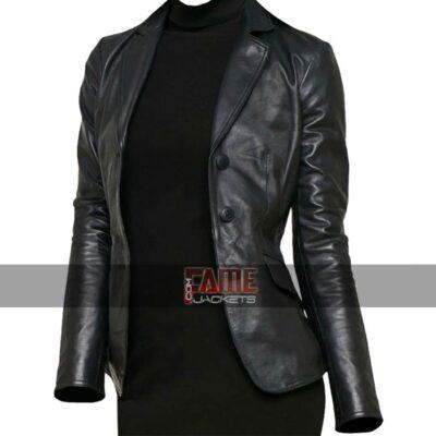 ladies casual black slim fit leather jacket