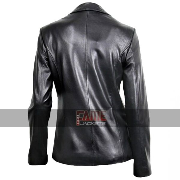 ladies casual black office leather blazer coat