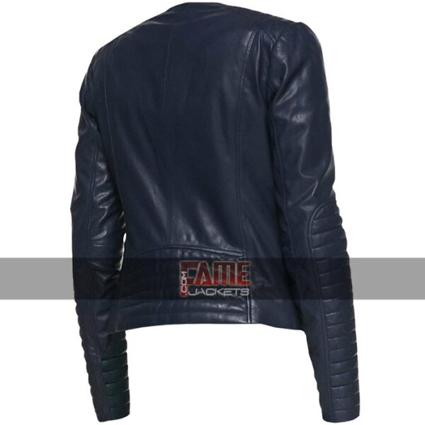 ladies casual collarless blue leather slim fit biker jacket