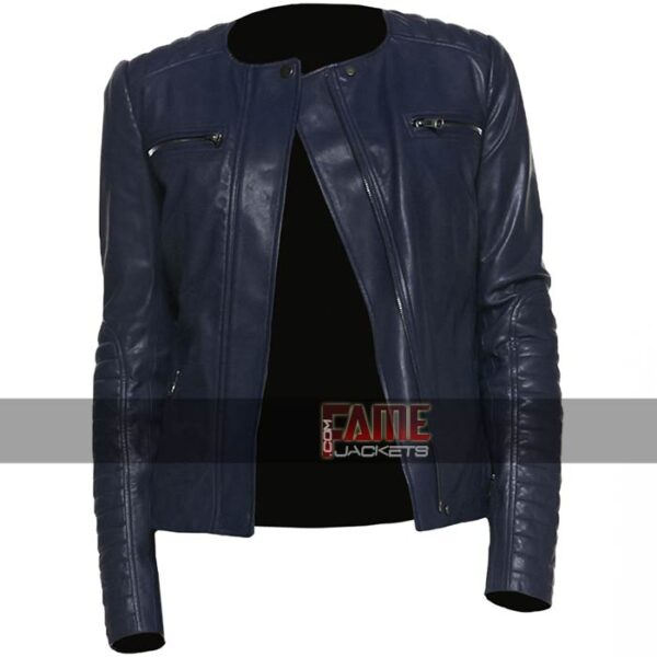ladies casual collarless real blue leather biker jacket