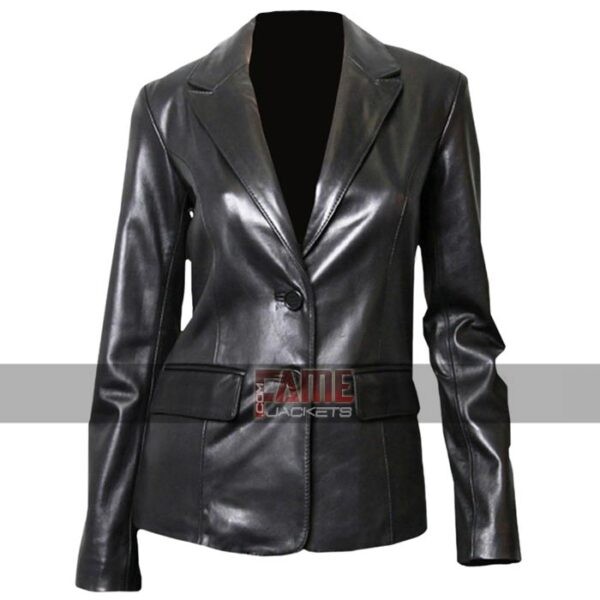 ladies casual office style leather blazer