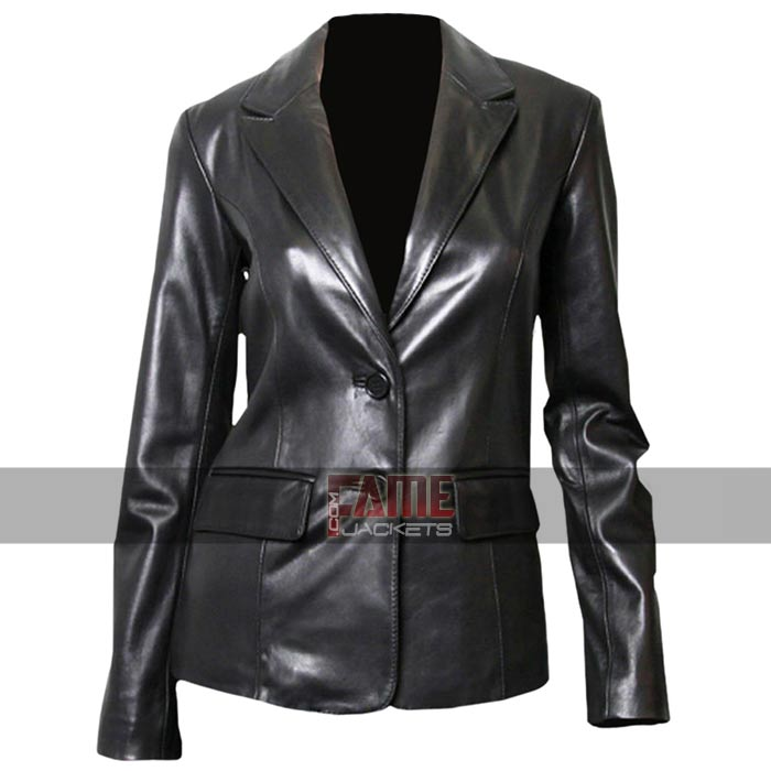 Women\u0027s Casual Black Office Style Genuine Leather Blazer/Mini Coat
