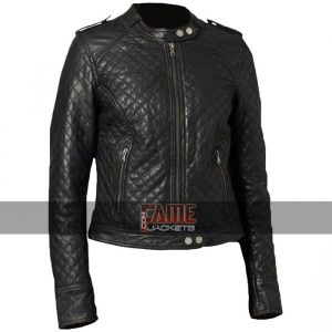 ladies classic quilted diamond real leather biker jacket