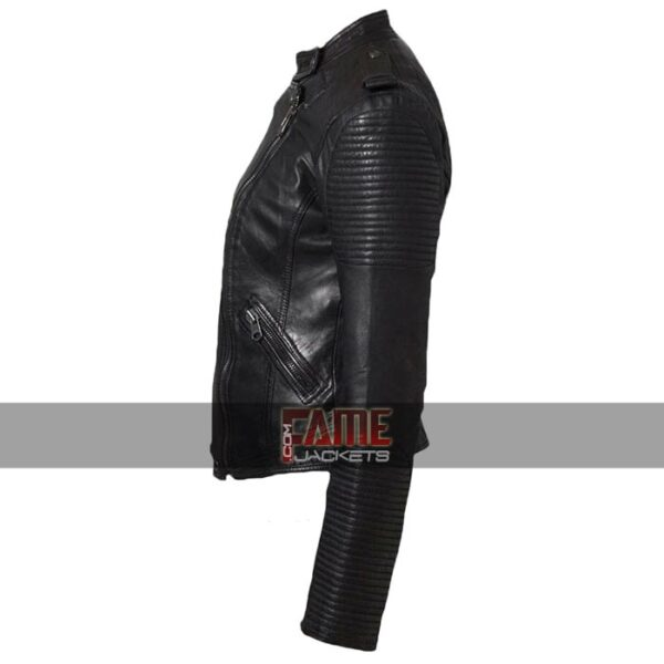 women latest cafe racer black leather biker jacket