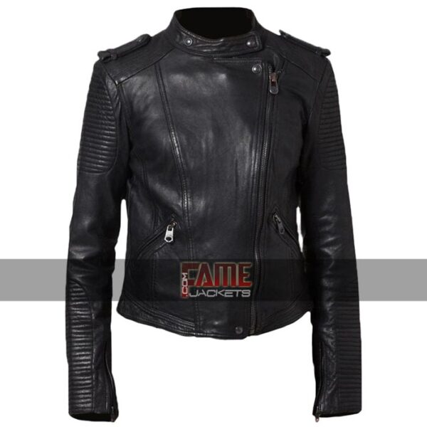 ladies new style cafe racer black leather biker jacket