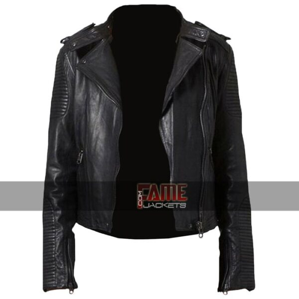 womens new cafe racer real black leather jacket