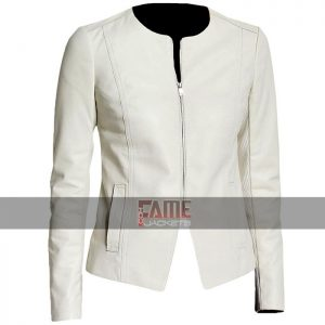 women casual white collarless slim fit leather jacket