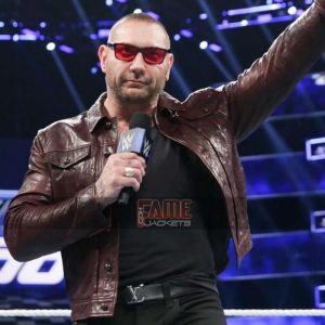 wwe dave batista waxed brown real leather jacket