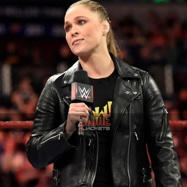 wwe ronda rousey slim fit black leather jacket