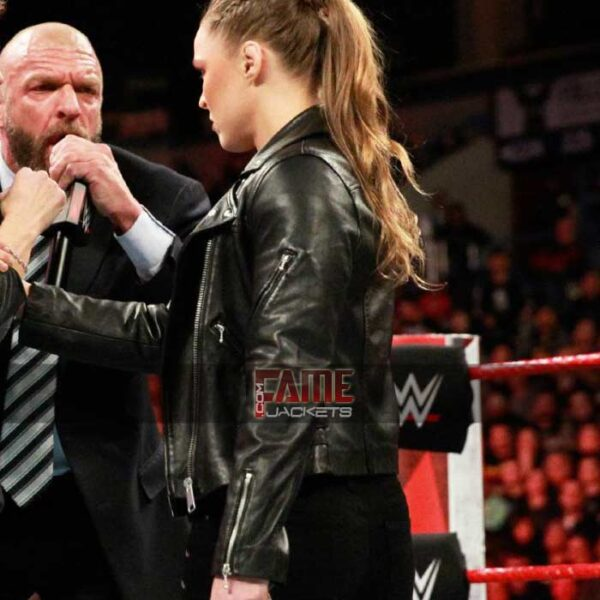 wwe ronda rousey slim fit biker real leather jacket