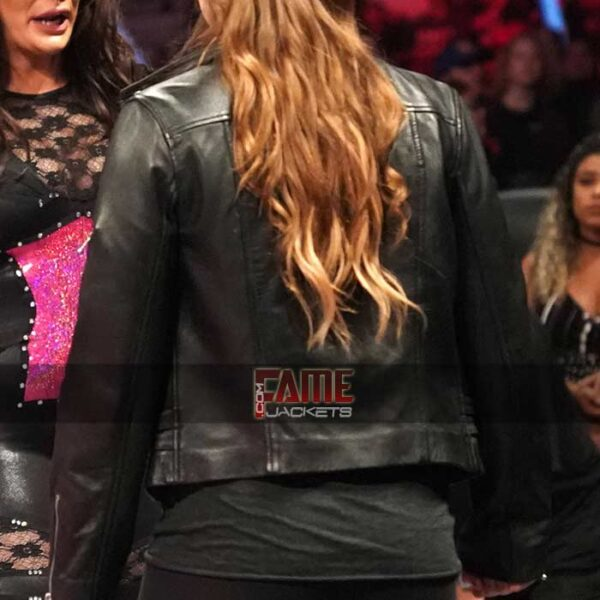 wwe ronda rousey real slim fit biker leather jacket