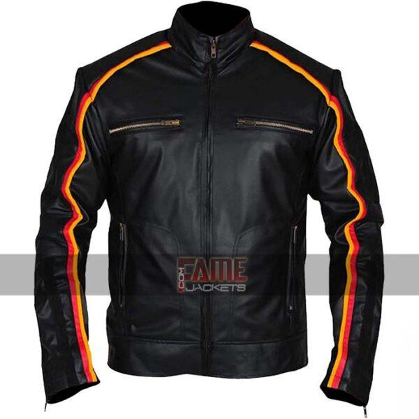 wwe dean ambrose striped black leather jacket