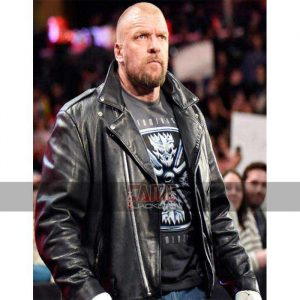 wwe triple h real black biker leather jacket