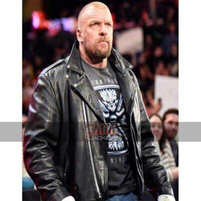 wwe triple h real black biker leather jacket
