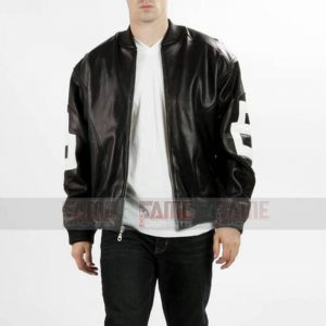 8 Ball Pool Black Bomber Leather Jacket For Men