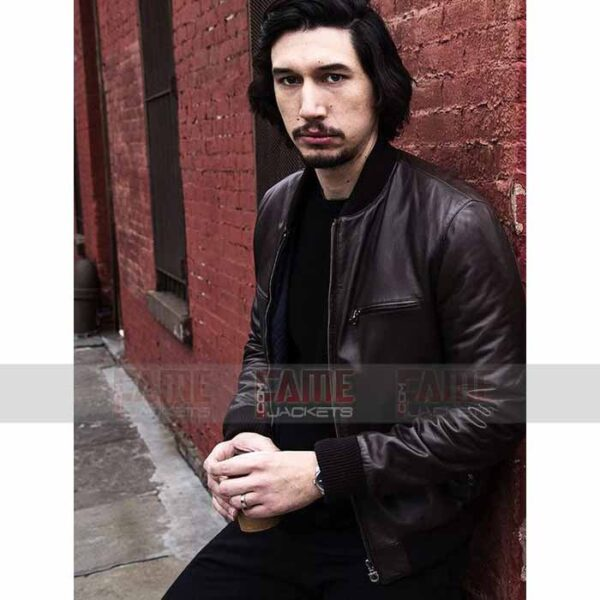 Adam Driver Brown Bomber Leather Jacket