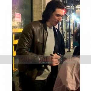 Adam Driver Brown Bomber Leather Jacket On Sale