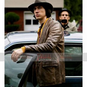 Adam Driver Distressed Brown Leather Blazer