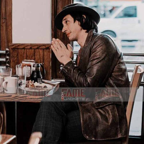Adam Driver Distressed Leather Jacket For Men