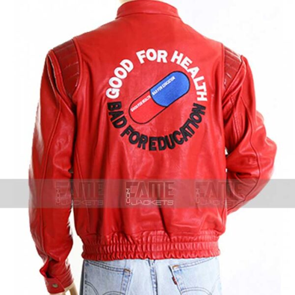 Red Vintage Leather Jacket With Capsule On Off Price