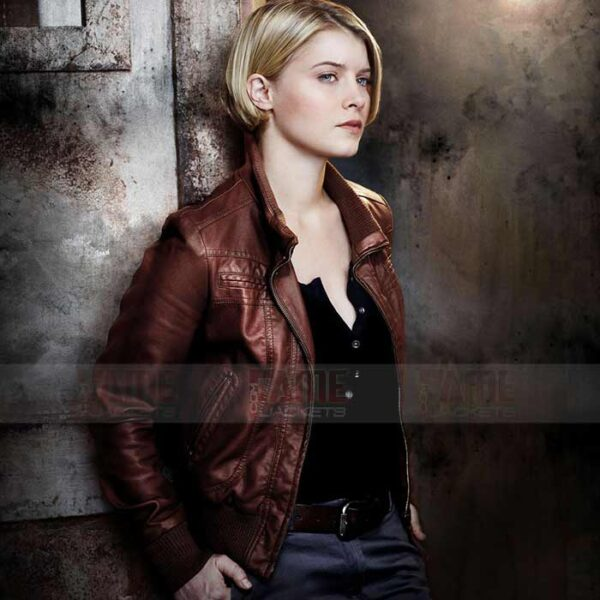 Alcatraz Sarah Stone Brown Leather Jacket For Women