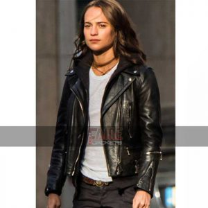 Alicia Vikander black leather jacket