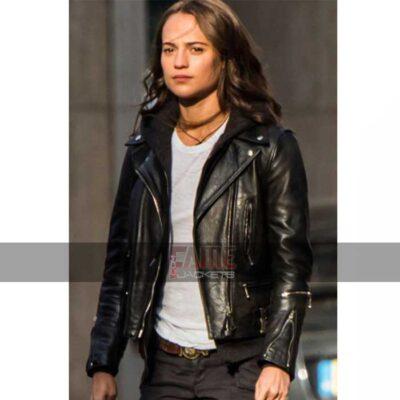 Alicia Vikander black leather jacket