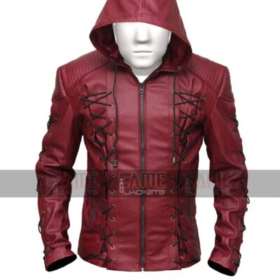 Arsenal Arrow Red Hooded Leather Jacket