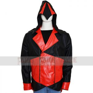 Mens Black and Red Leather Hoodie Jacket