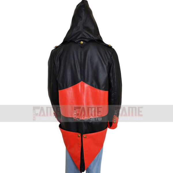 Unisex Black Red Leather Hoodie Jacket