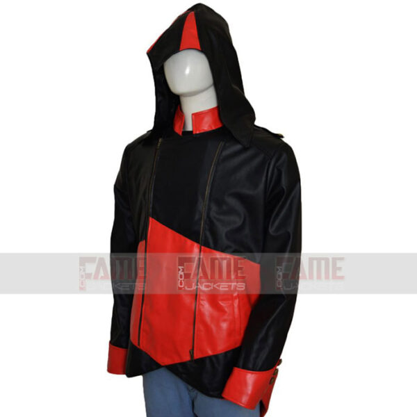 Unisex Red And Black Leather Jacket