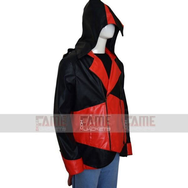 Unisex Black Red Leather jacket Hoodie