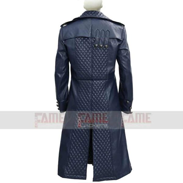 Assassins Creed Blue Leather Winter Coat