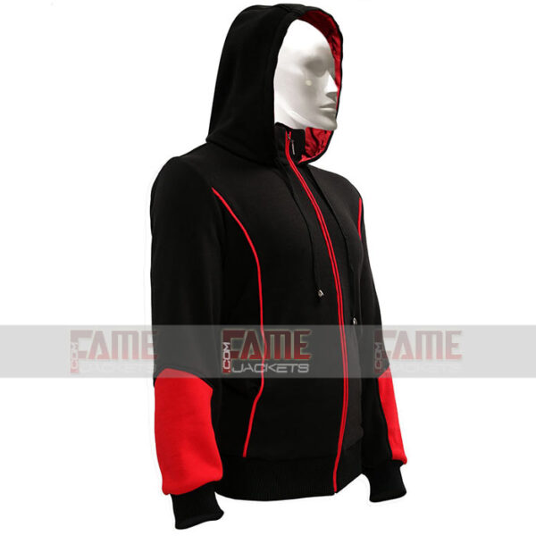 Unisex Black Red Hoodie Wool Coat