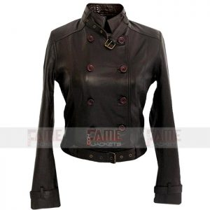 Womens Brown Leather Slim Fit Jacket