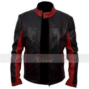Men Black Maroon Real Leather Jacket