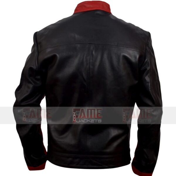 Mens Black Maroon Faux Leather Jacket
