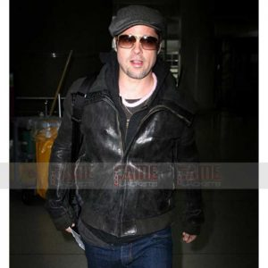 Brad Pitt Mens Black Distressed Leather Bomber Jacket