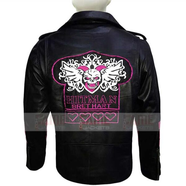 Bret The Hitman Hart Leather Motorcycle Jacket For Men