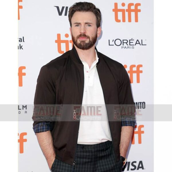 Buy Chris Evans Knives Out Bomber Jacket at $100 Off Sale