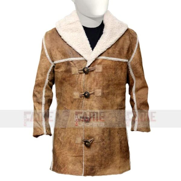Mens Brown Shearling Suede Leather Coat