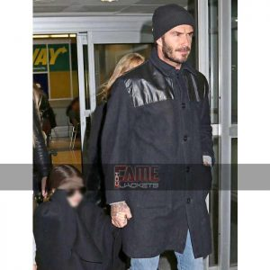 david beckham mens black wool and leather coat
