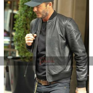 Mens Casual Black Leather Slim Fit Jacket