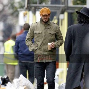 david beckham green cotton bomber coat