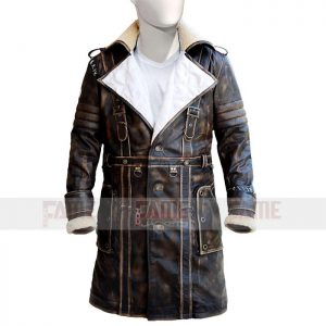 Men Distressed Trench Leather Coat