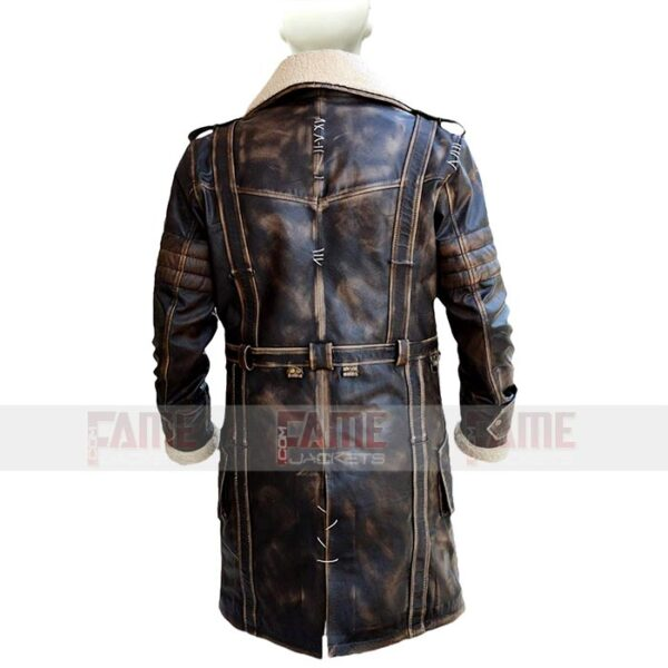Mens Trench Distressed Leather Coat