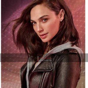 gal gadot slim fit biker leather jacket