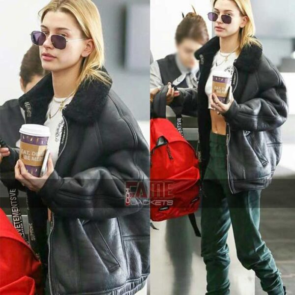 hailey baldwin b3 black shearling lining leather winter jacket
