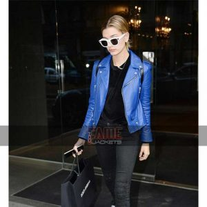 Women Blue Leather Slim Fit Jacket