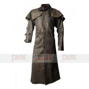Mens Leather Winter Trench Coat